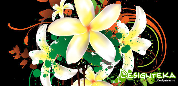 Tropical Flowers Background – фоны Tropical Flowers в векторе
