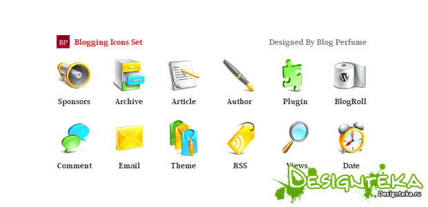 Blogging icons set - иконки для Блога